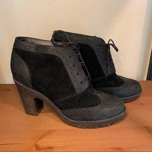 Sperry Emory Suede Black Wingtip Ankle Booties, 7